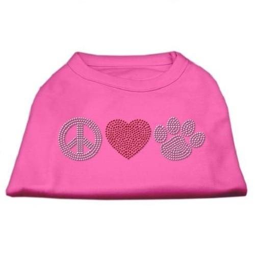Peace Love and Paw Rhinestone Dog Tank Top - Bright Pink   The Pet Boutique