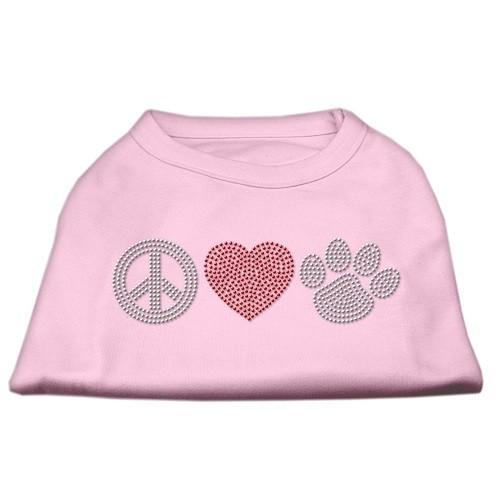 Peace Love and Paw Rhinestone Dog Tank Top - Light Pink   The Pet Boutique