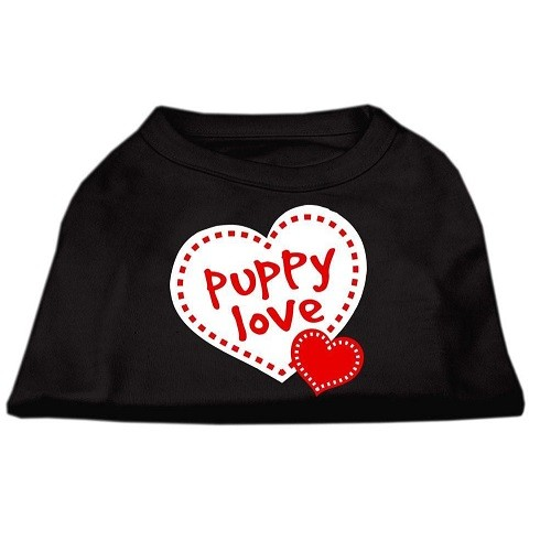 Puppy Love Screen Print Dog Shirt - Black | The Pet Boutique