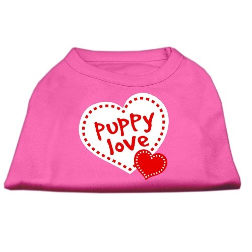 Puppy Love Screen Print Dog Shirt - Bright Pink | The Pet Boutique
