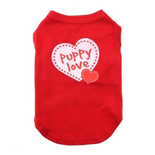 Puppy Love Screen Print Dog Shirt - Red | The Pet Boutique