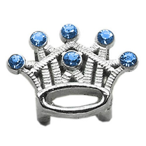 Slider Crystal Crown Collar Charm - Blue | The Pet Boutique