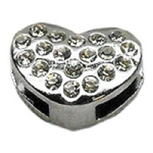 Slider Puffy Heart Collar Charm - Clear | The Pet Boutique