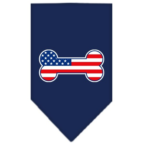 Bone Flag American Screen Print Pet Bandana - Navy Blue | The Pet Boutique