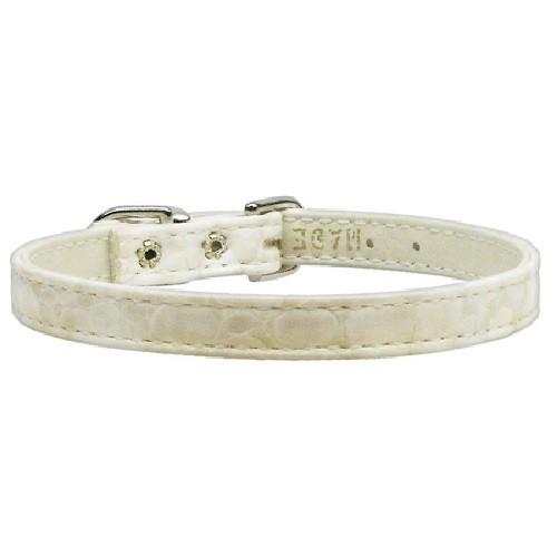 """Faux Snake Skin 3/8"""" Plain Dog Collar - Off White 