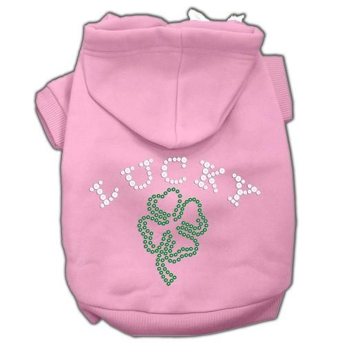 Four Leaf Clover Outline Rhinestone Dog Hoodie - Pink   The Pet Boutique