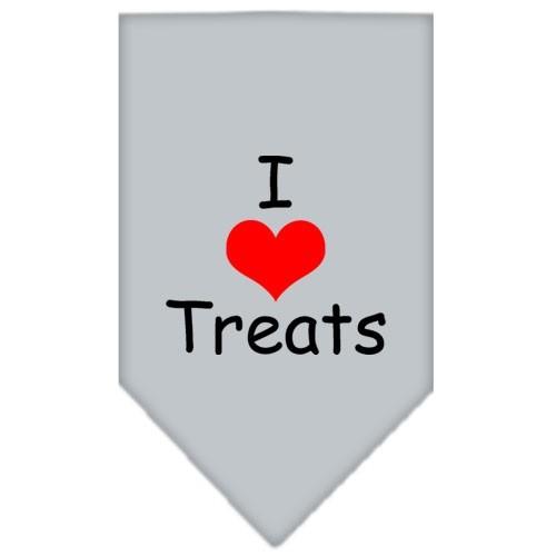 I Heart Treats Screen Print Pet Bandana - Grey | The Pet Boutique