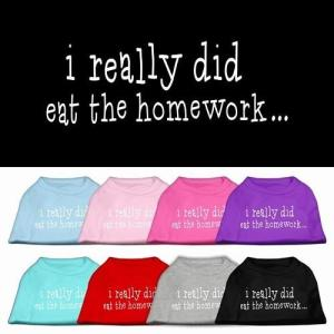 I Really Did Eat the Homework Screen Print Dog Shirt | The Pet Boutique
