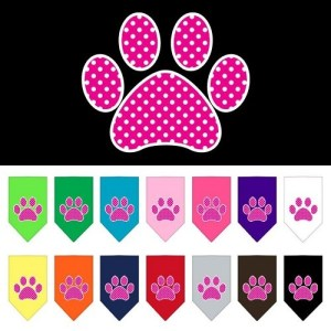 Pink Swiss Dot Paw Screen Print Pet Bandana | The Pet Boutique