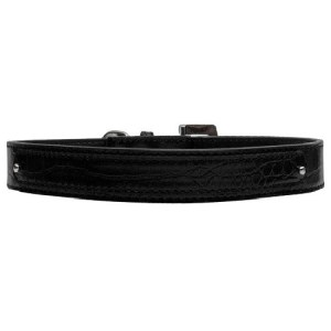 18mm Two Tier Faux Croc Dog Collar - Black | The Pet Boutique