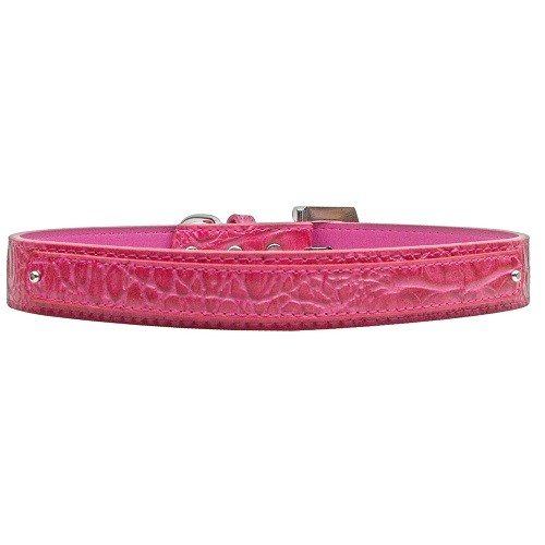 18mm Two Tier Faux Croc Dog Collar - Pink | The Pet Boutique