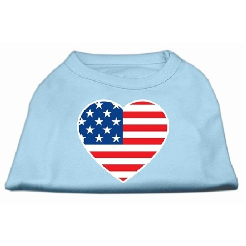 American Flag Heart Screen Print Dog Shirt - Baby Blue | The Pet Boutique