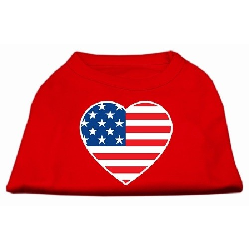 American Flag Heart Screen Print Dog Shirt - Red | The Pet Boutique