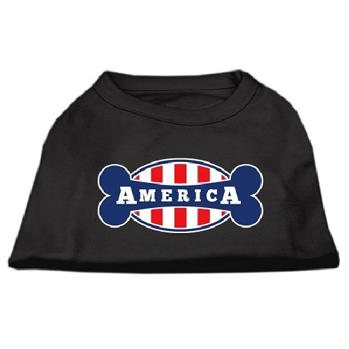 Bonely in America Screen Print Dog Shirt - Black | The Pet Boutique