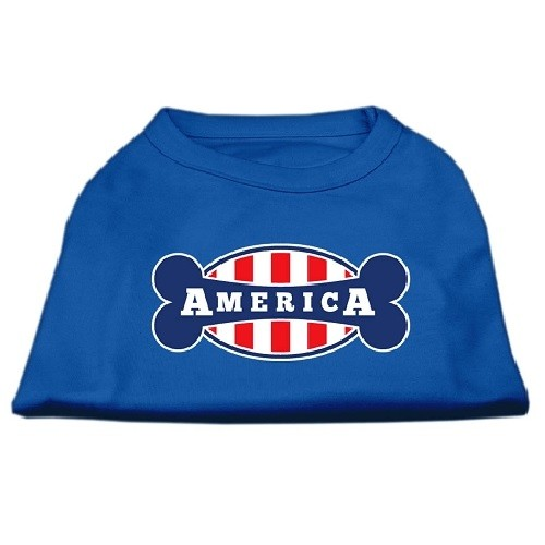Bonely in America Screen Print Dog Shirt - Blue | The Pet Boutique
