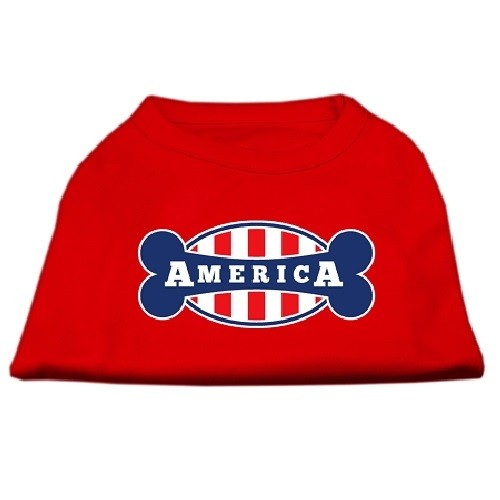 Bonely in America Screen Print Dog Shirt - Red | The Pet Boutique