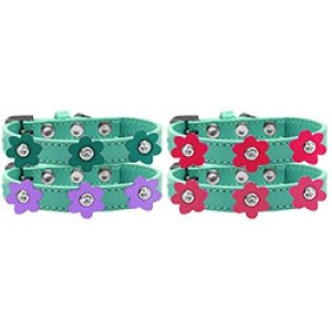 Flower Premium Dog Collar - Aqua | The Pet Boutique