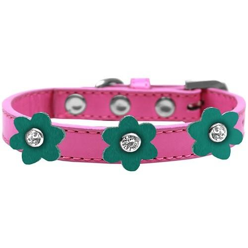Flower Premium Dog Collar - Bright Pink With Jade Flowers | The Pet Boutique