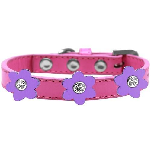Flower Premium Dog Collar - Bright Pink With Lavender Flowers | The Pet Boutique