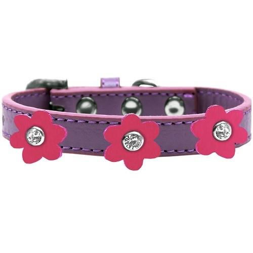 Flower Premium Dog Collar - Lavender With Pink Flowers | The Pet Boutique