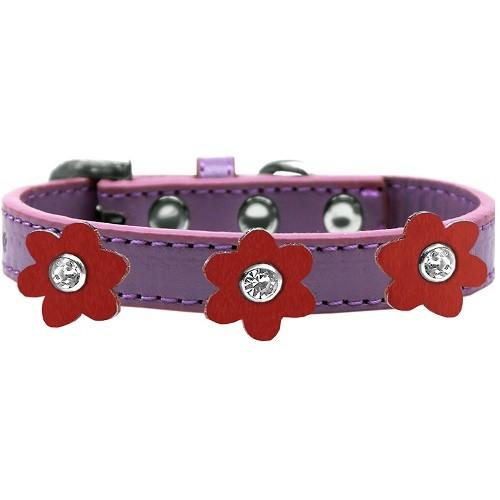 Flower Premium Dog Collar - Lavender With Red Flowers | The Pet Boutique