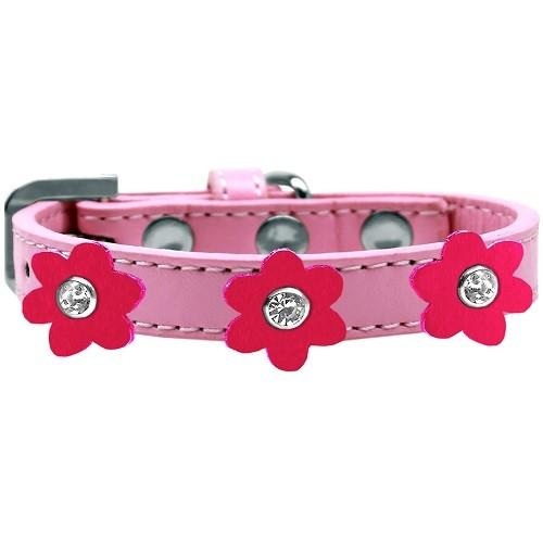 Flower Premium Dog Collar - Light Pink With Bright Pink Flowers   The Pet Boutique