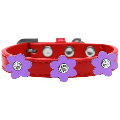 Flower Premium Dog Collar - Red With Lavender Flowers | The Pet Boutique