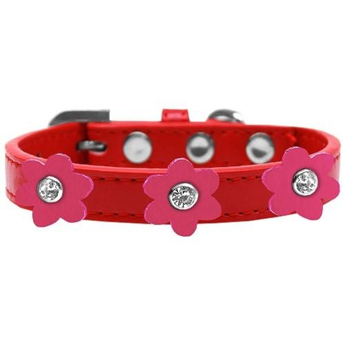 Flower Premium Dog Collar - Red With Pink Flowers | The Pet Boutique