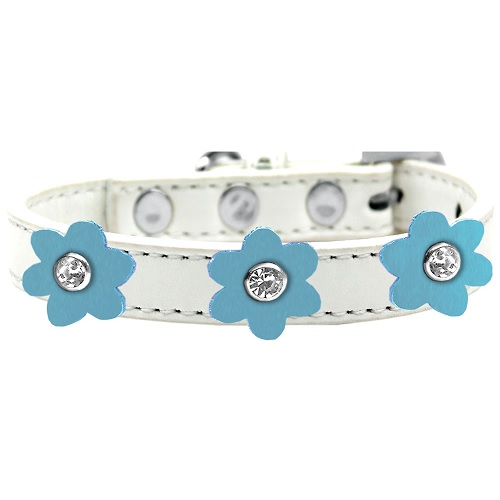 Flower Premium Dog Collar - White With Baby Blue Flowers | The Pet Boutique