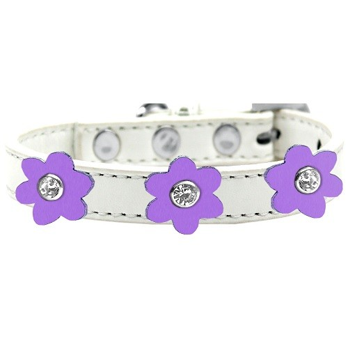 Flower Premium Dog Collar - White With Lavender Flowers | The Pet Boutique
