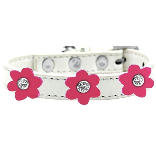 Flower Premium Dog Collar - White With Pink Flowers | The Pet Boutique