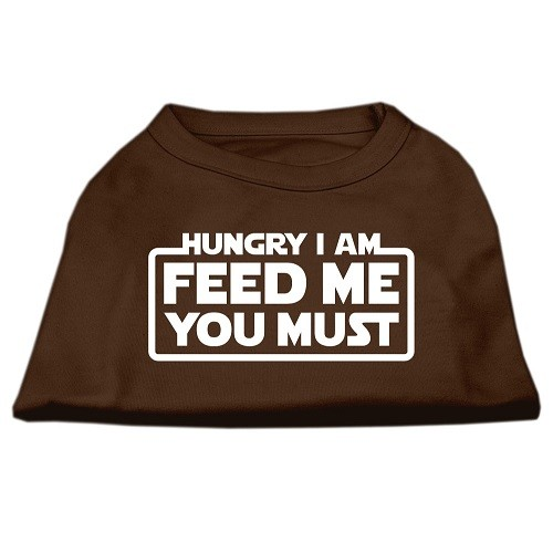 Hungry I Am, Feed Me You Must Screen Print Dog Shirt - Brown | The Pet Boutique