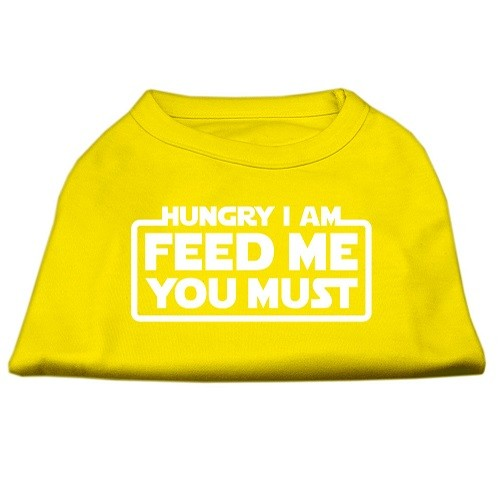 Hungry I Am, Feed Me You Must Screen Print Dog Shirt - Yellow | The Pet Boutique