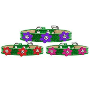 Metallic Flower Ice Cream Dog Collar - Emerald Green | The Pet Boutique