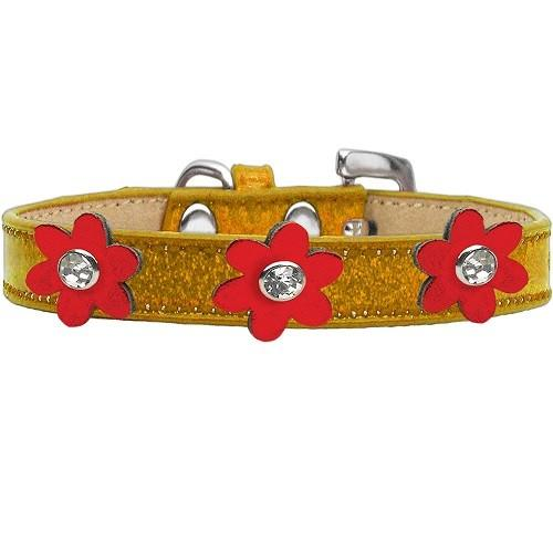 Metallic Flower Ice Cream Dog Collar - Gold With Metallic Red Flowers | The Pet Boutique