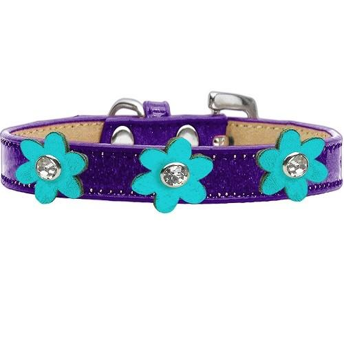 Metallic Flower Ice Cream Dog Collar - Purple With Turquoise Flowers | The Pet Boutique