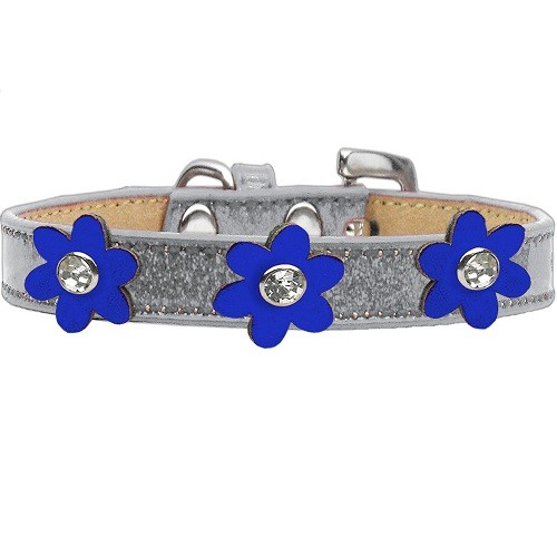 Metallic Flower Ice Cream Dog Collar - Silver With Blue Flowers | The Pet Boutique