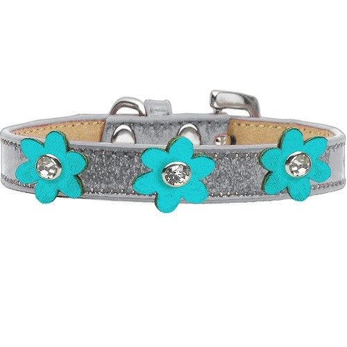 Metallic Flower Ice Cream Dog Collar - Silver With Turquoise Flowers | The Pet Boutique