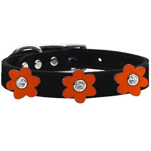 Flower Leather Dog Collar - Black With Orange Flowers | The Pet Boutique