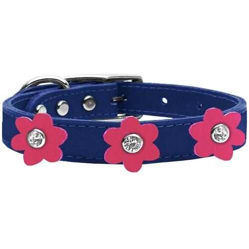 Flower Leather Dog Collar - Blue With Pink Flowers   The Pet Boutique