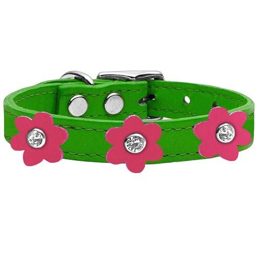 Flower Leather Dog Collar - Emerald Green With Pink Flowers   The Pet Boutique