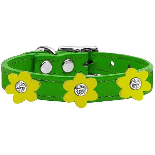 Flower Leather Dog Collar - Emerald Green With Yellow Flowers   The Pet Boutique