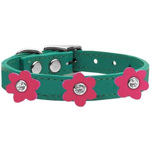 Flower Leather Dog Collar - Jade With Pink Flowers | The Pet Boutique