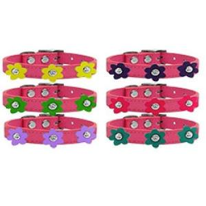 Flower Leather Dog Collar - Pink | The Pet Boutique