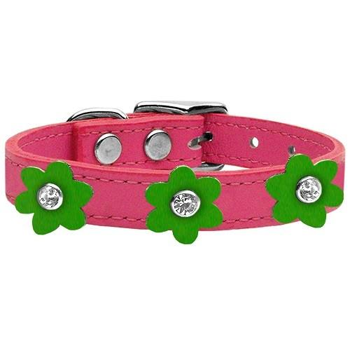 Flower Leather Dog Collar - Pink With Emerald Green Flowers   The Pet Boutique