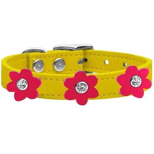 Flower Leather Dog Collar - Yellow With Bright Pink Flowers   The Pet Boutique