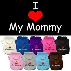 I Love My Mommy Screen Print Dog Hoodie   The Pet Boutique