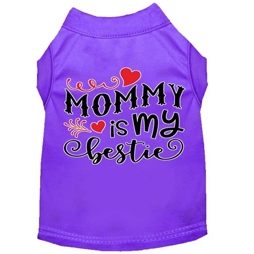 Mommy Is My Bestie Screen Print Dog Shirt - Purple   The Pet Boutique