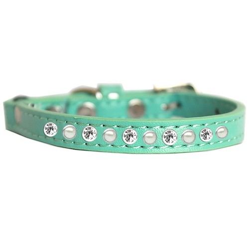 Pearl and Clear Jewel Cat Safety Collar - Aqua | The Pet Boutique