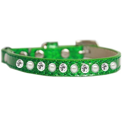 Pearl and Clear Jewel Ice Cream Cat Safety Collar - Emerald Green   The Pet Boutique